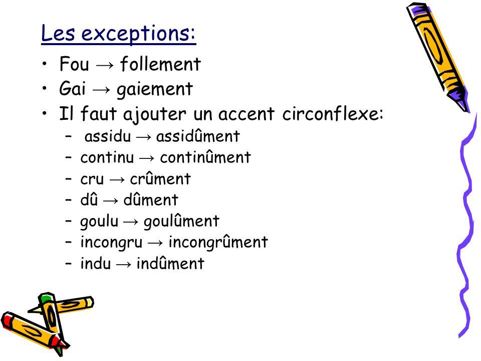 Les exceptions: Fou → follement Gai → gaiement