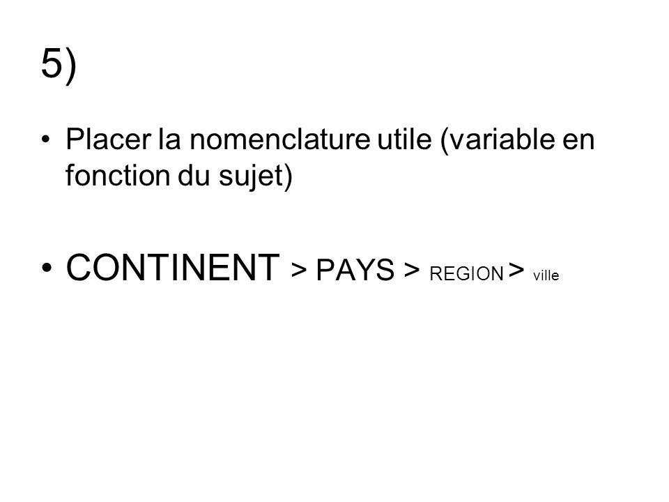 5) CONTINENT > PAYS > REGION > ville
