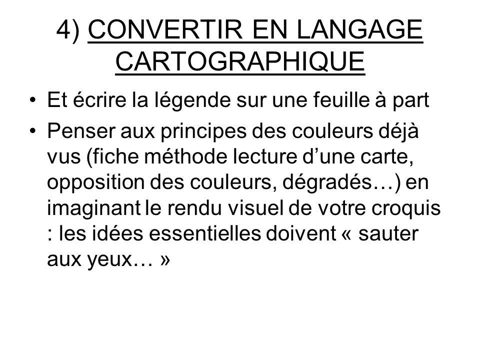 4) CONVERTIR EN LANGAGE CARTOGRAPHIQUE