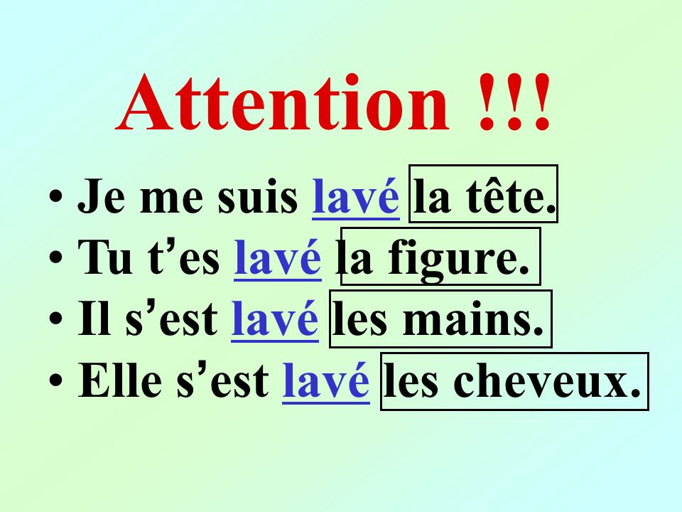 Attention !!! Je me suis lavé la tête. Tu t'es lavé la figure.