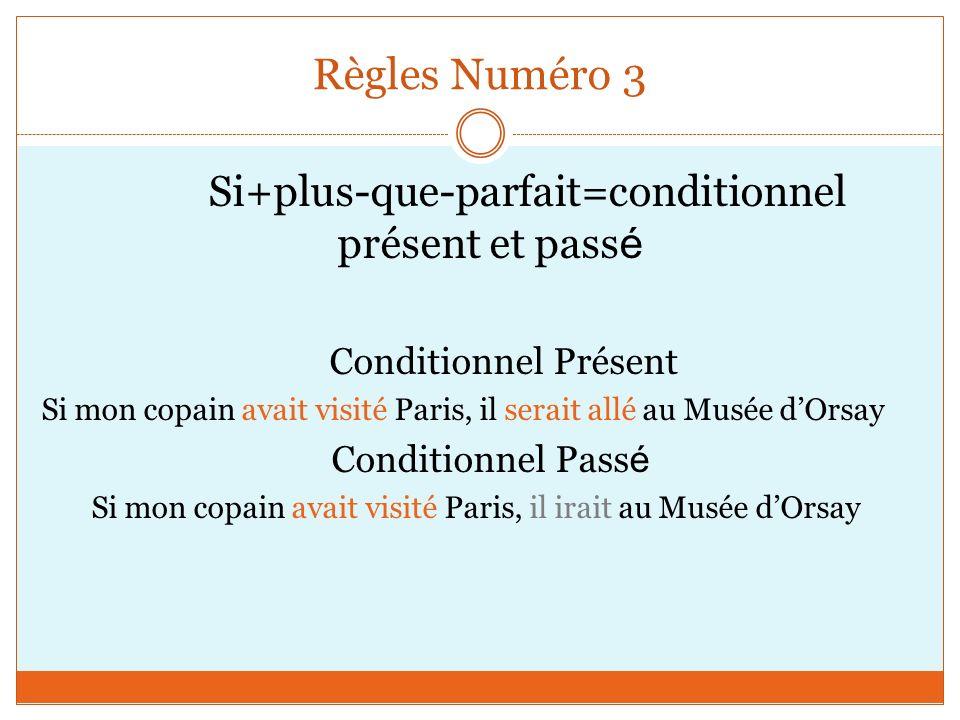 Règles Numéro 3 Conditionnel Passé