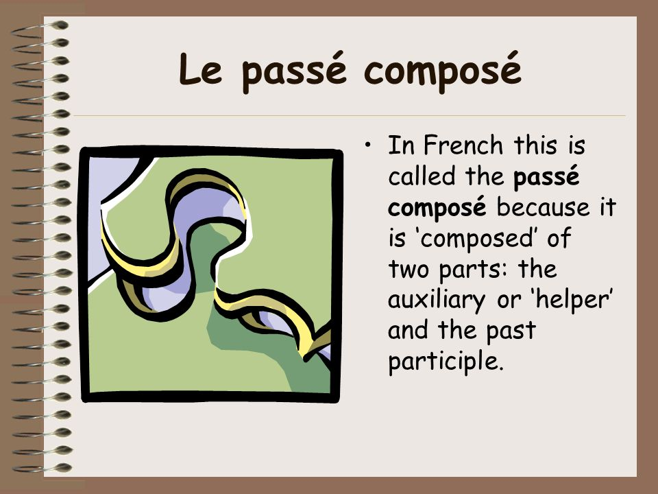 Le passé composé In French this is called the passé composé because it is 'composed' of two parts: the auxiliary or 'helper' and the past participle.