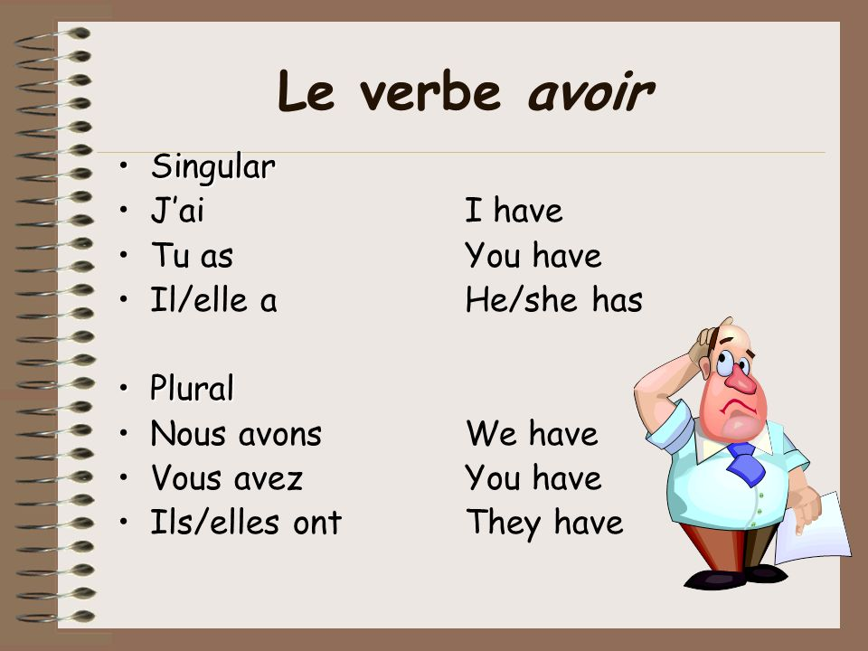 Le verbe avoir Singular J'ai I have Tu as You have