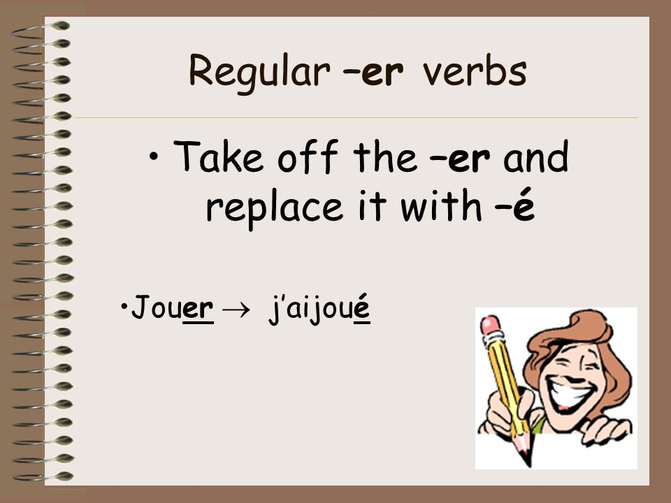 Take off the –er and replace it with –é