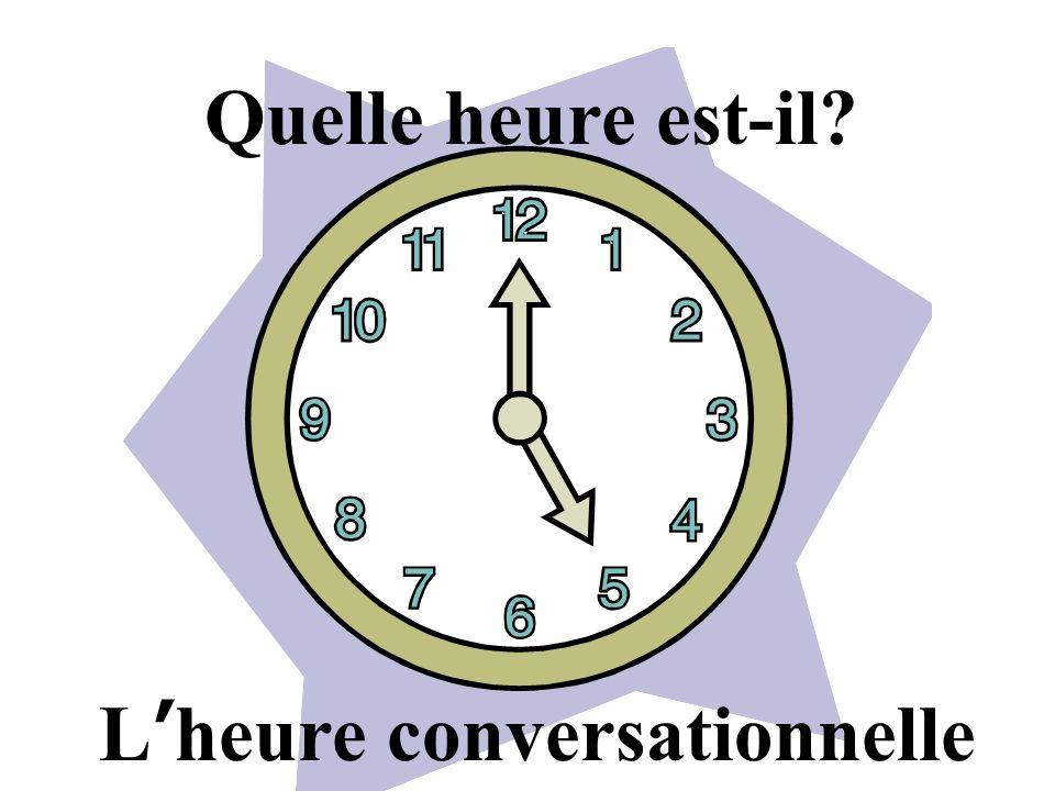 Quelle heure est-il L'heure conversationnelle
