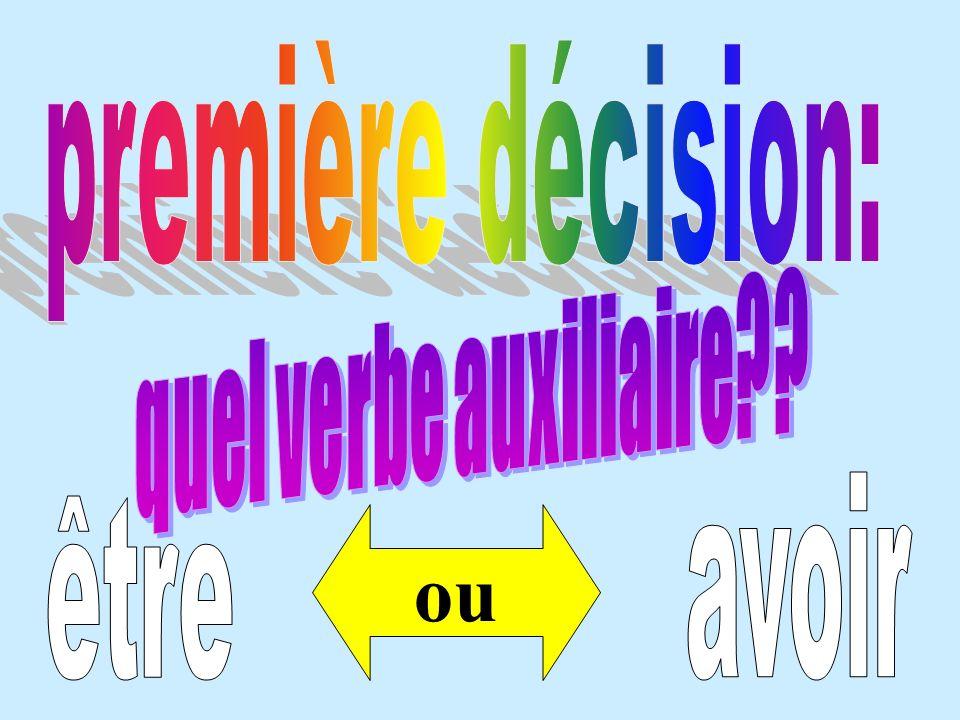 première décision: quel verbe auxiliaire avoir être ou