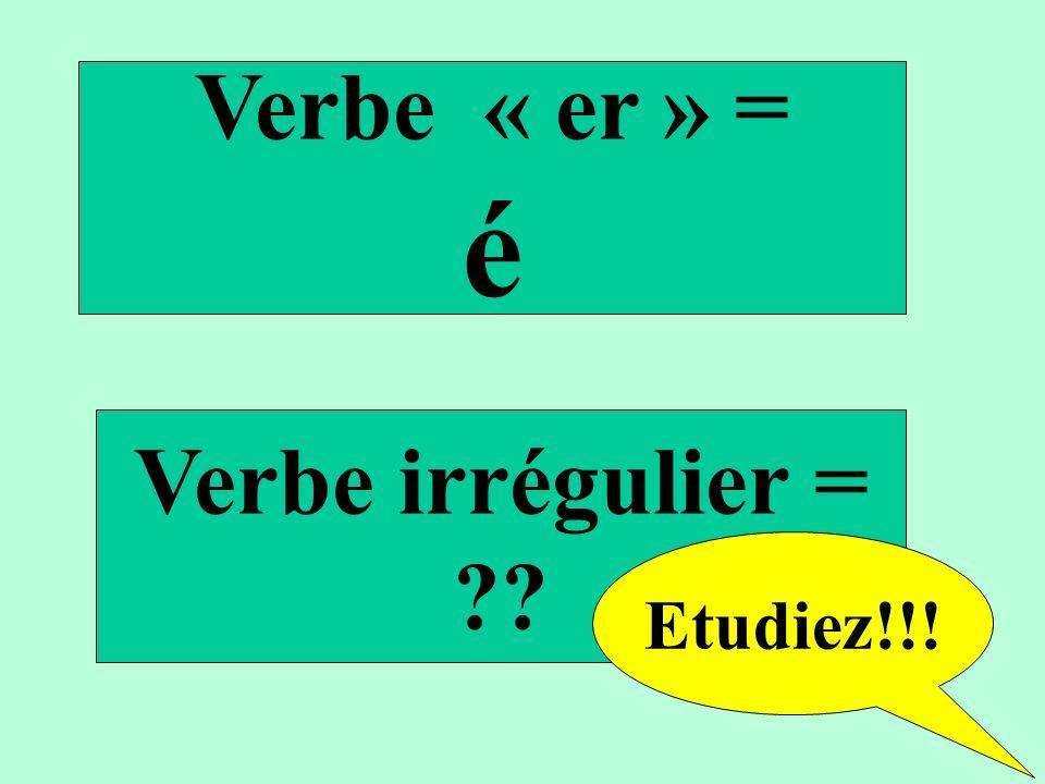 Verbe « er » = é Verbe irrégulier = Etudiez!!!