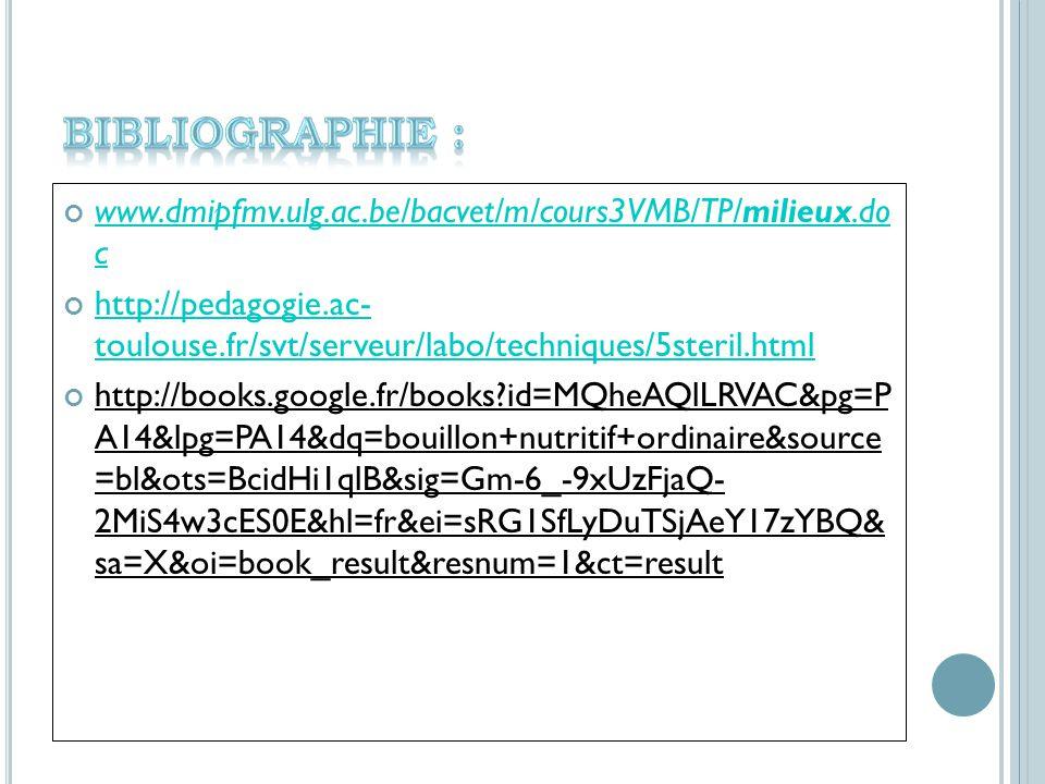Bibliographie : www.dmipfmv.ulg.ac.be/bacvet/m/cours3VMB/TP/milieux.do c. http://pedagogie.ac- toulouse.fr/svt/serveur/labo/techniques/5steril.html.