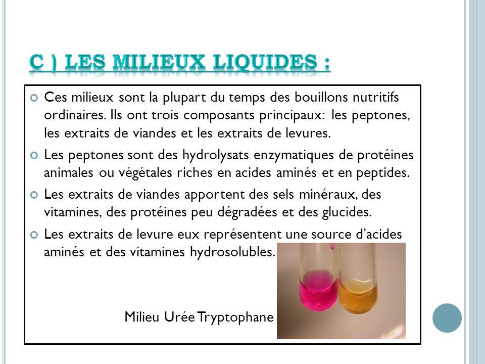 C ) Les milieux liquides :