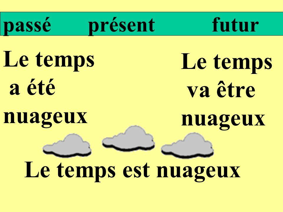 Le temps Le temps a été va être nuageux nuageux Le temps est nuageux