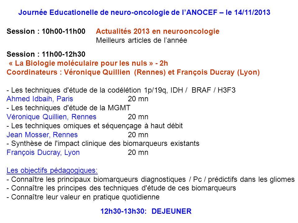 Journée Educationelle de neuro-oncologie de l'ANOCEF – le 14/11/2013