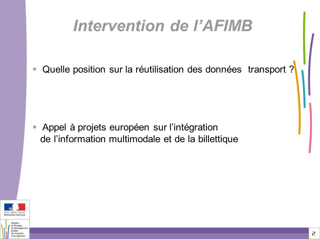 Intervention de l'AFIMB