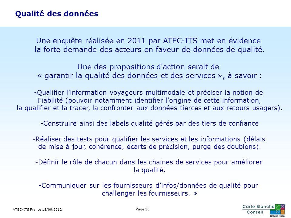Une enquête réalisée en 2011 par ATEC-ITS met en évidence