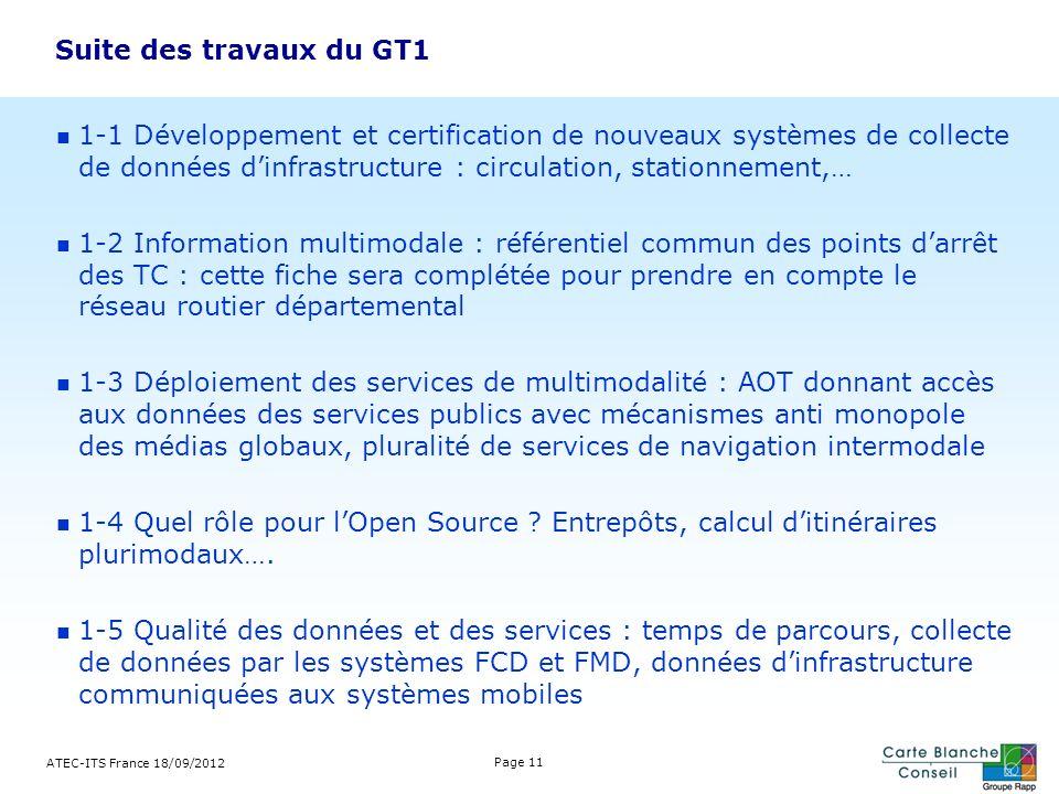 Suite des travaux du GT1