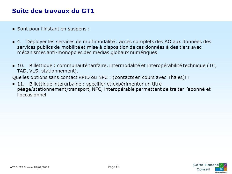 Suite des travaux du GT1 Sont pour l instant en suspens :