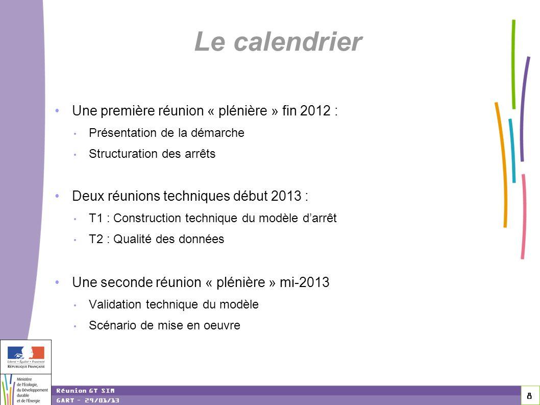 Le calendrier Une première réunion « plénière » fin 2012 :