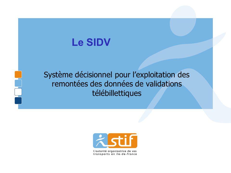 Le SIDV Système décisionnel pour l'exploitation des remontées des données de validations télébillettiques.