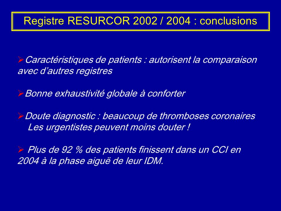 Registre RESURCOR 2002 / 2004 : conclusions