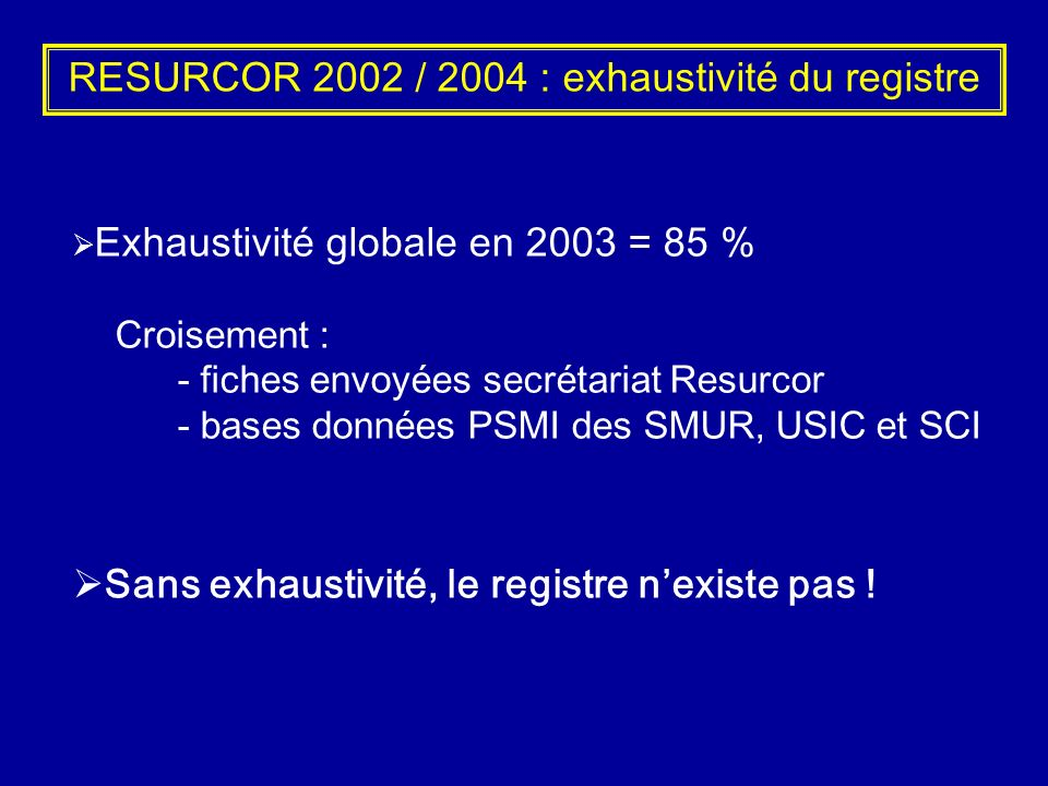 RESURCOR 2002 / 2004 : exhaustivité du registre
