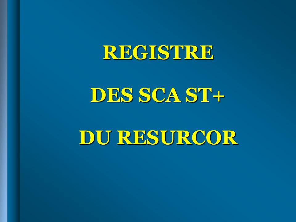 REGISTRE DES SCA ST+ DU RESURCOR