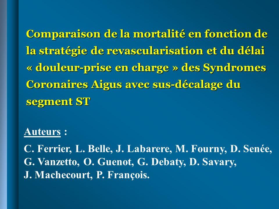Comparaison de la mortalité en fonction de la stratégie de revascularisation et du délai « douleur-prise en charge » des Syndromes Coronaires Aigus avec sus-décalage du segment ST