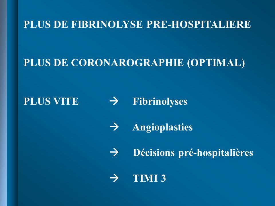 PLUS DE FIBRINOLYSE PRE-HOSPITALIERE