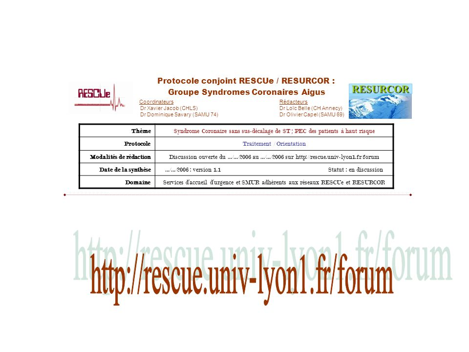 http://rescue.univ-lyon1.fr/forum RESURCOR