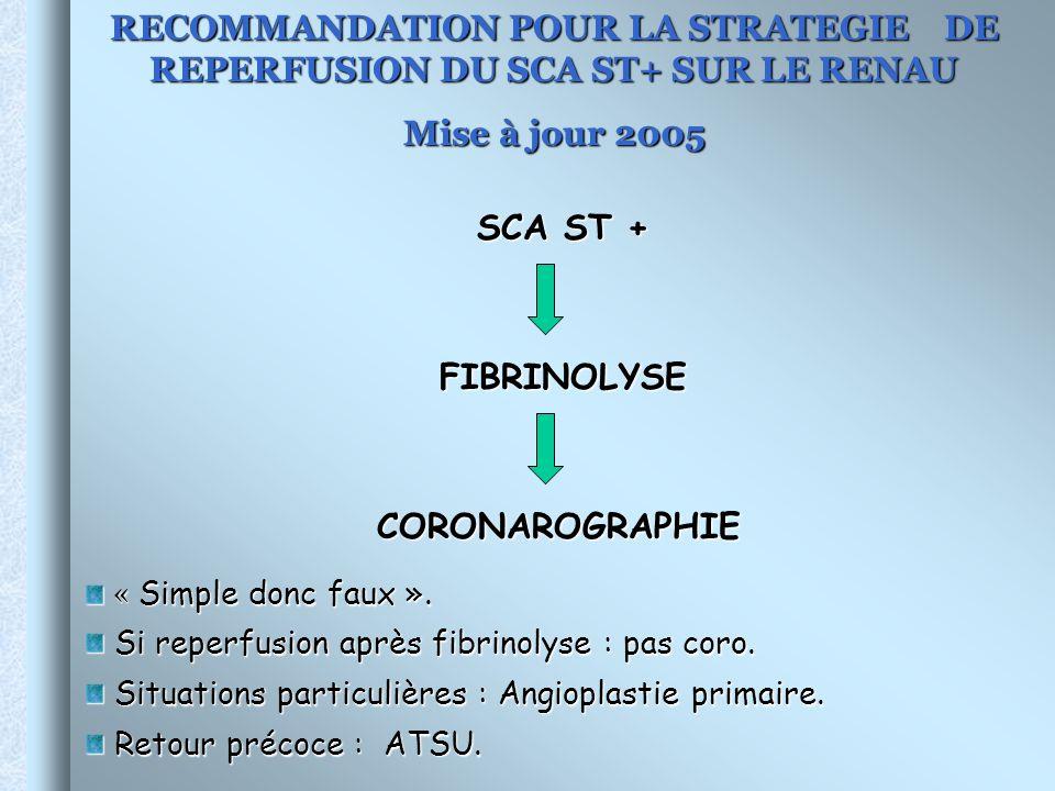 RECOMMANDATION POUR LA STRATEGIE DE REPERFUSION DU SCA ST+ SUR LE RENAU