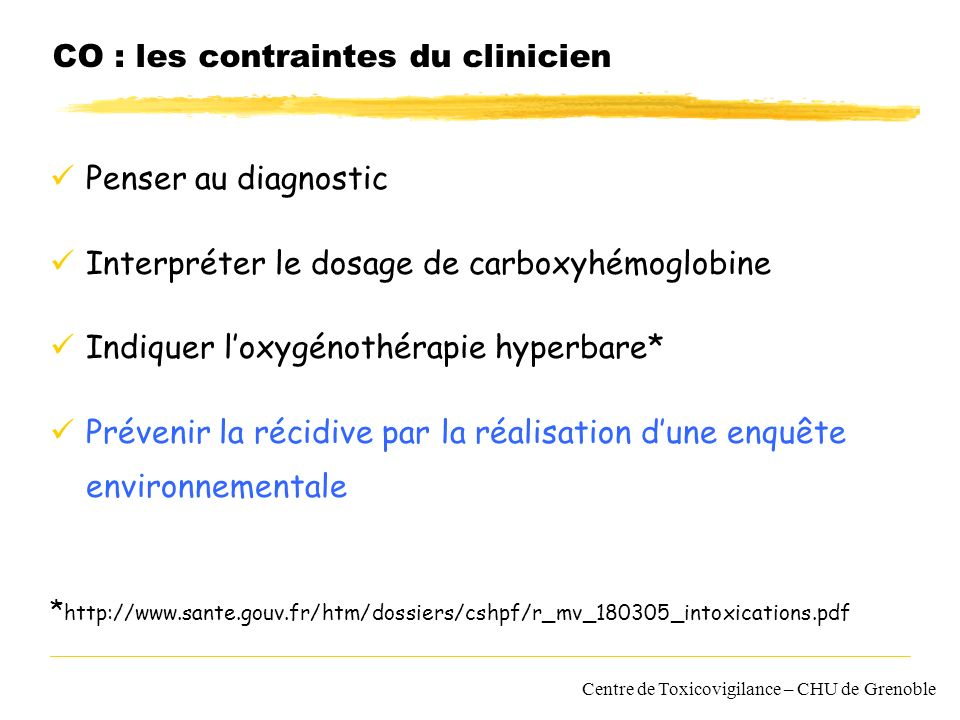 CO : les contraintes du clinicien
