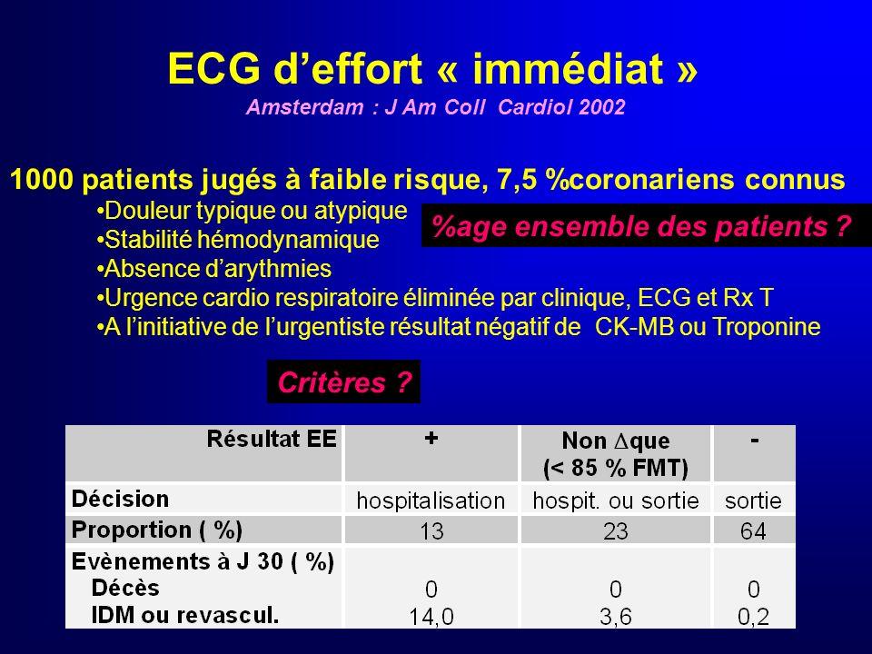 ECG d'effort « immédiat » Amsterdam : J Am Coll Cardiol 2002