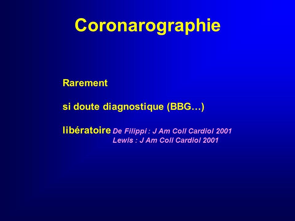 Coronarographie Rarement si doute diagnostique (BBG…)