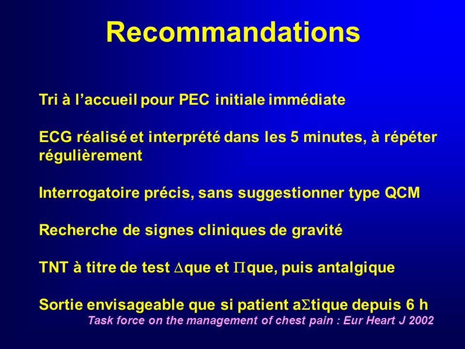 Recommandations Tri à l'accueil pour PEC initiale immédiate