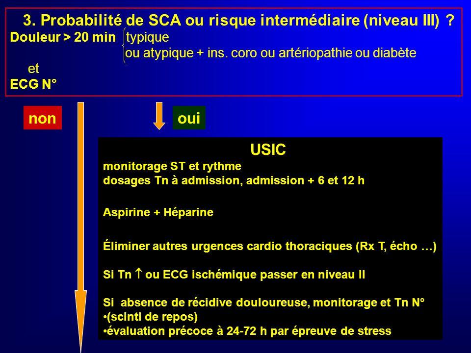 3. Probabilité de SCA ou risque intermédiaire (niveau III)