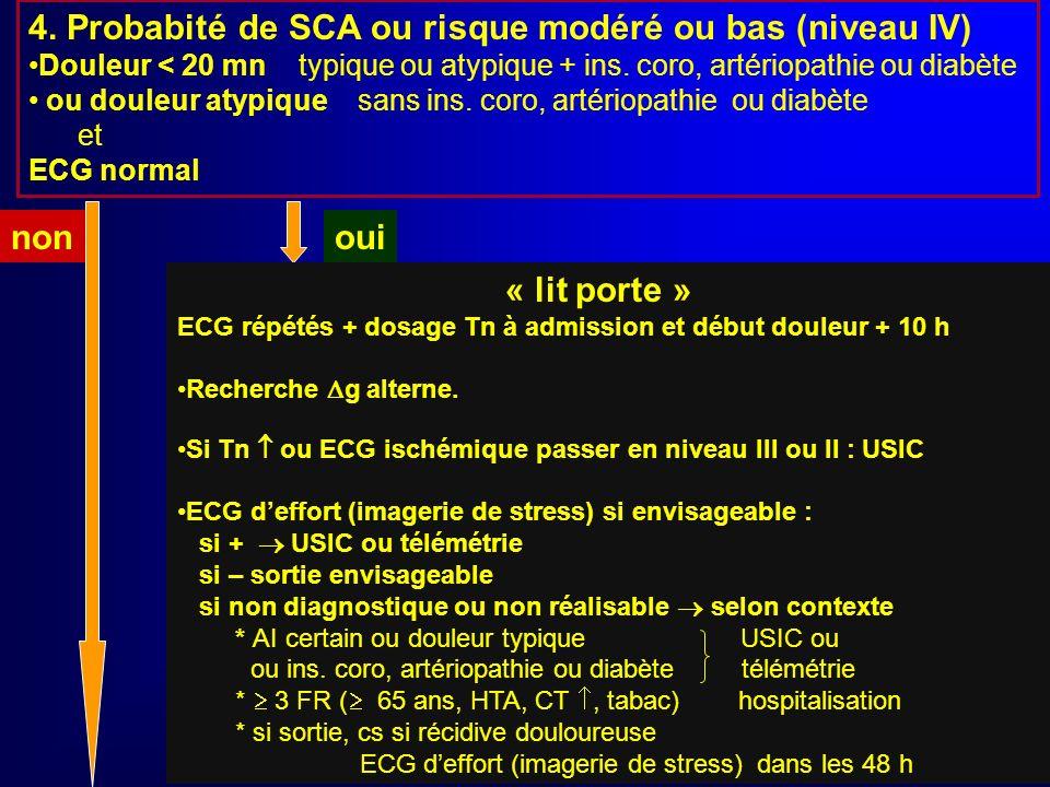 4. Probabité de SCA ou risque modéré ou bas (niveau IV)