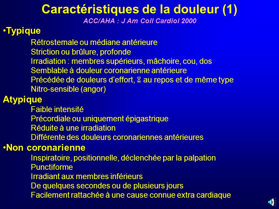 Caractéristiques de la douleur (1) ACC/AHA : J Am Coll Cardiol 2000