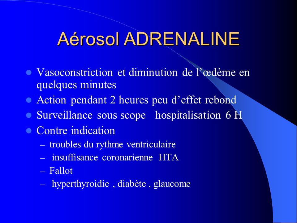 Aérosol ADRENALINE Vasoconstriction et diminution de l'œdème en quelques minutes. Action pendant 2 heures peu d'effet rebond.