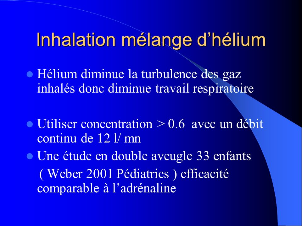 Inhalation mélange d'hélium