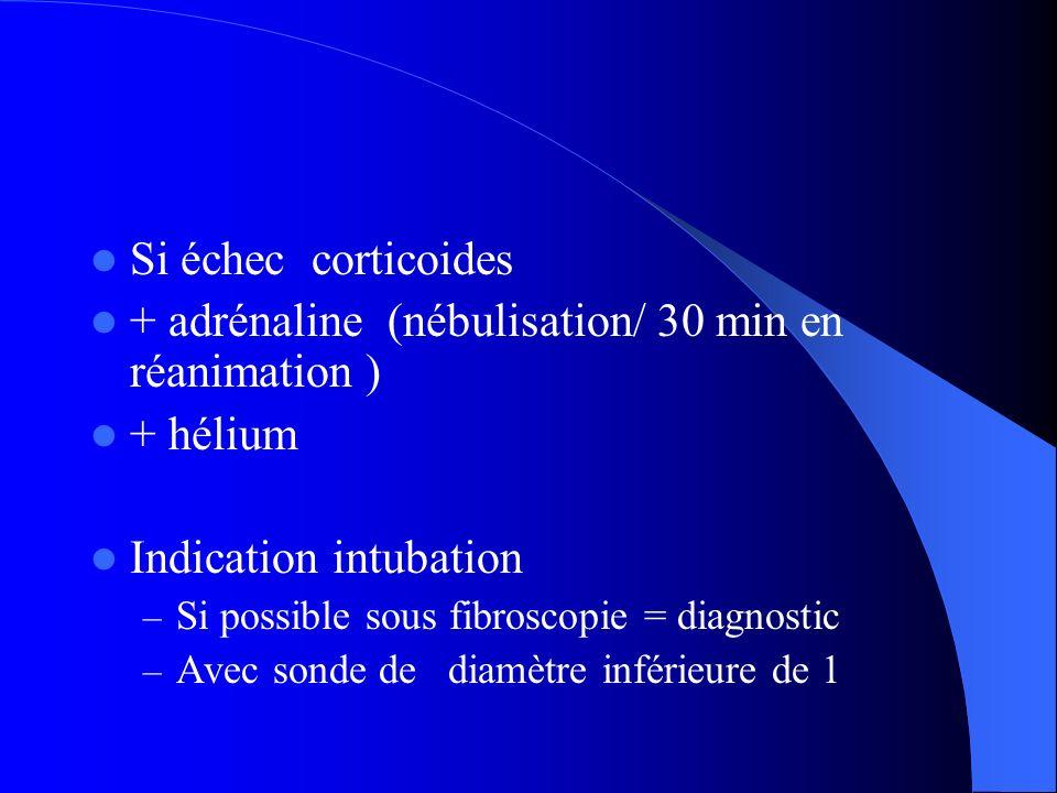 + adrénaline (nébulisation/ 30 min en réanimation ) + hélium