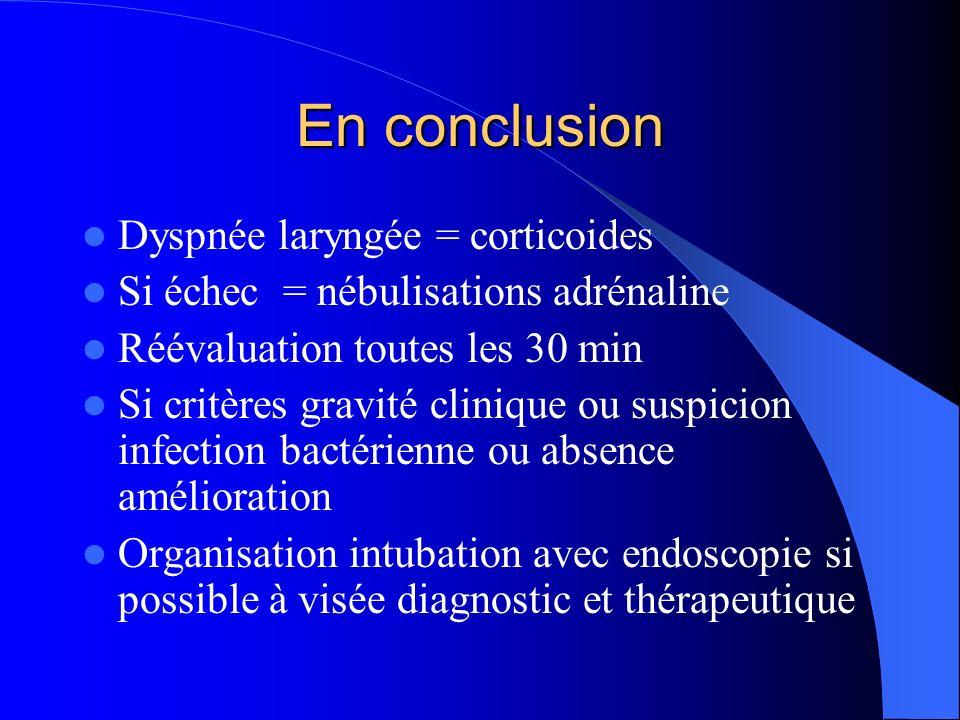 En conclusion Dyspnée laryngée = corticoides