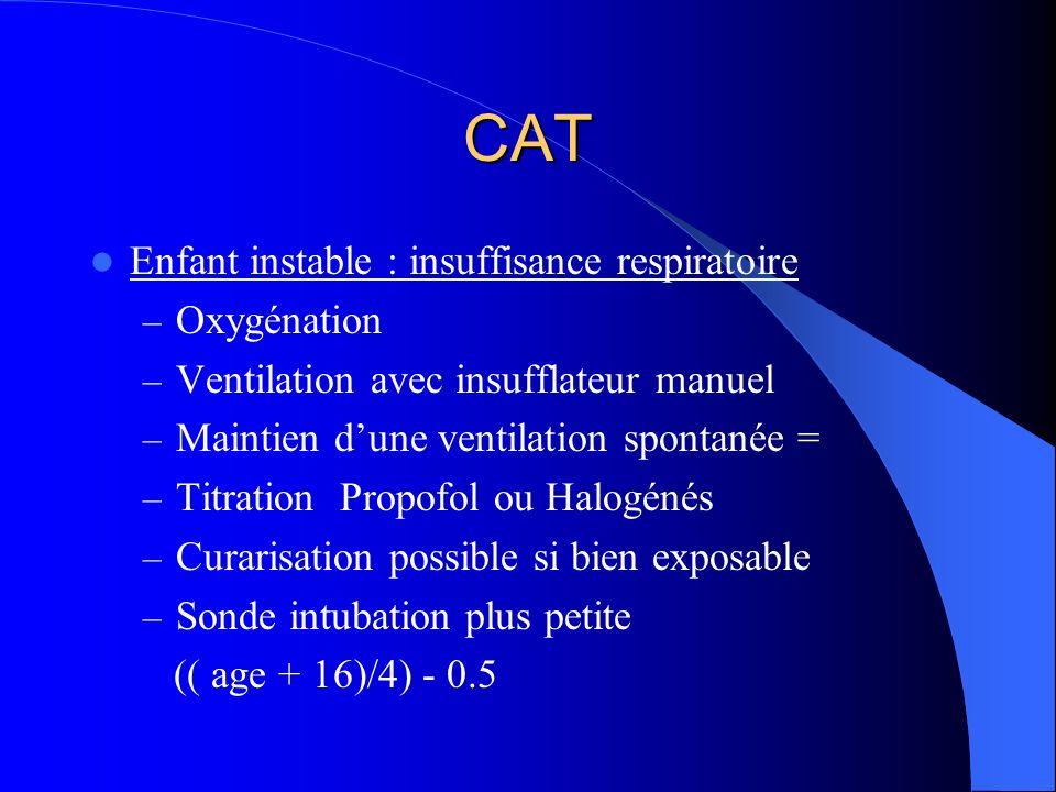 CAT Enfant instable : insuffisance respiratoire Oxygénation