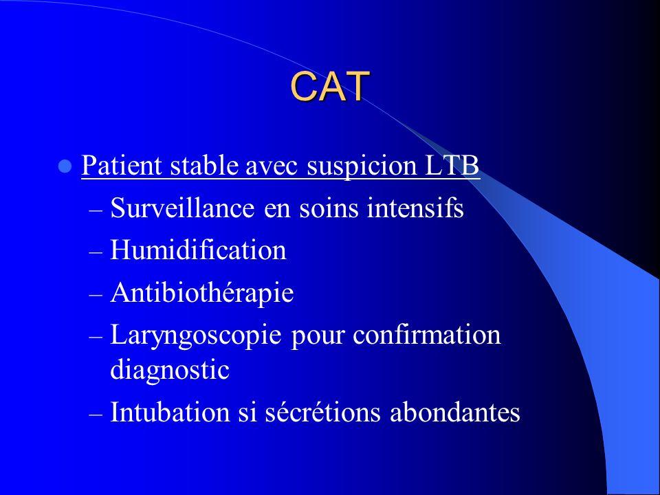 CAT Patient stable avec suspicion LTB Surveillance en soins intensifs