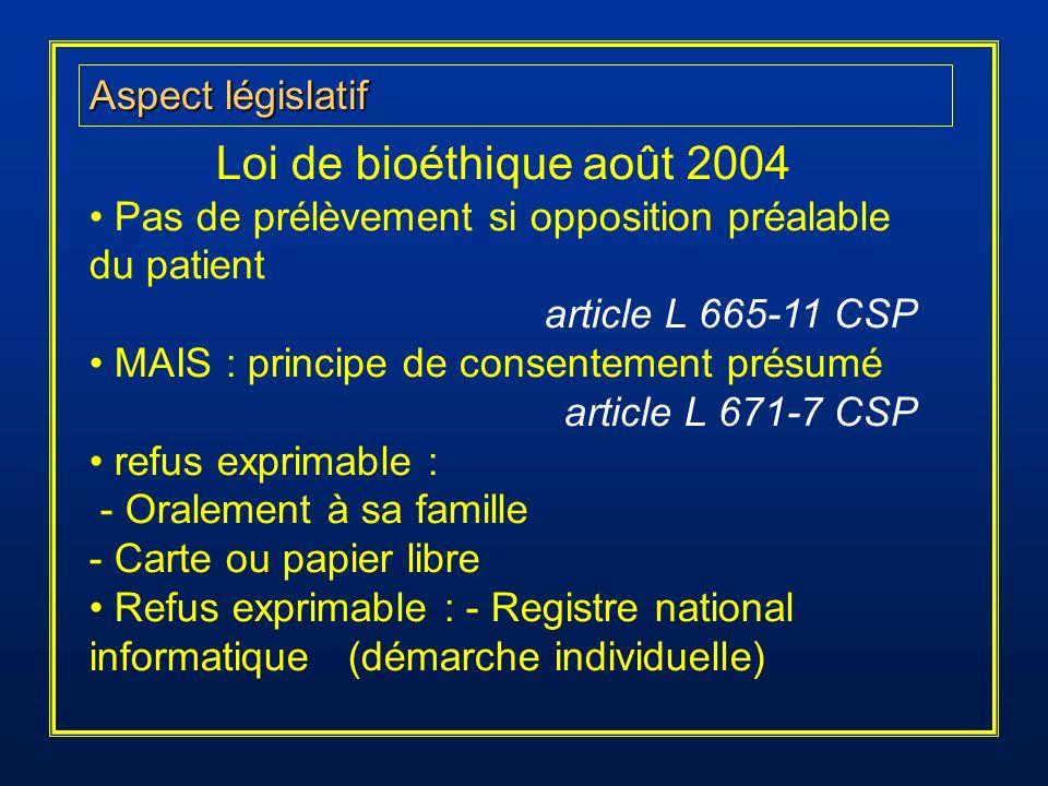 Loi de bioéthique août 2004 Aspect législatif