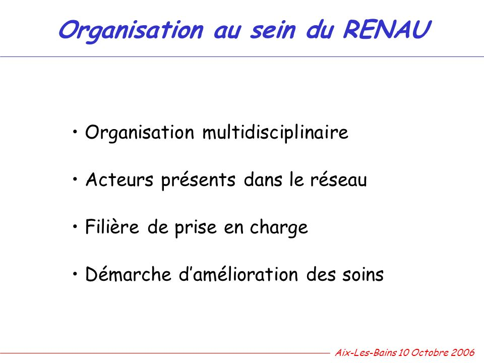 Organisation au sein du RENAU