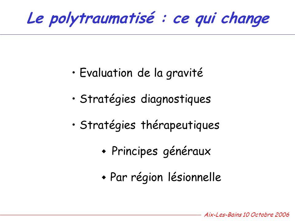 Le polytraumatisé : ce qui change