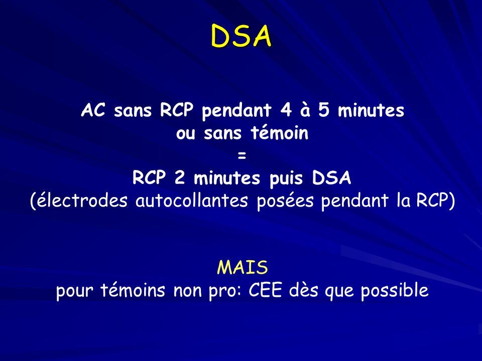 AC sans RCP pendant 4 à 5 minutes