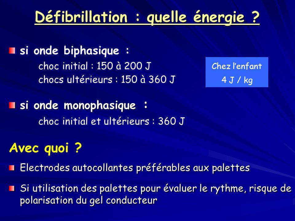 Défibrillation : quelle énergie