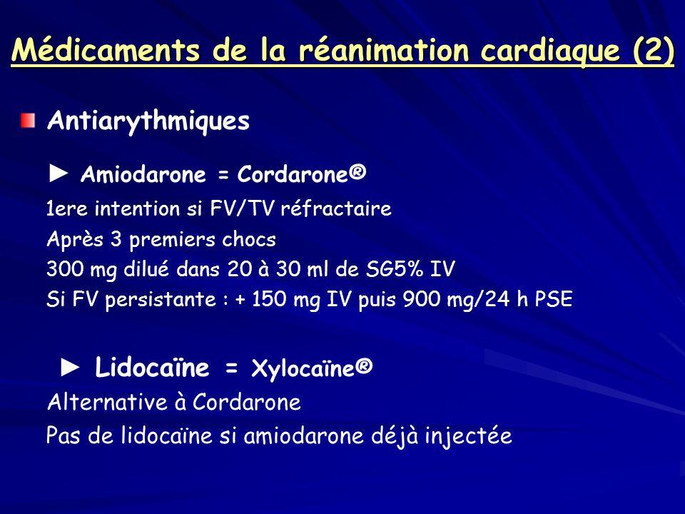 Médicaments de la réanimation cardiaque (2)