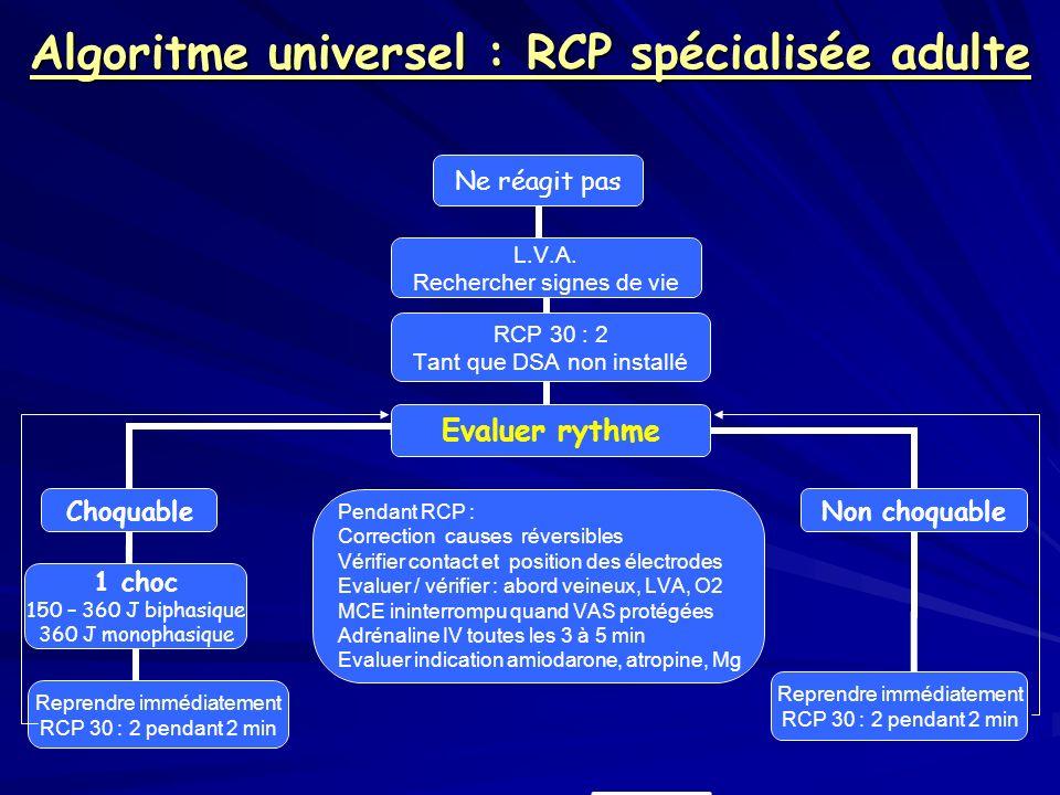 Algoritme universel : RCP spécialisée adulte