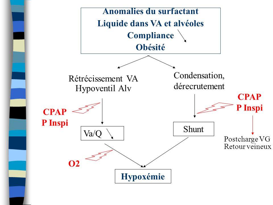 Anomalies du surfactant Liquide dans VA et alvéoles