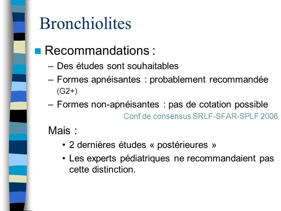 Bronchiolites Recommandations : Mais : Des études sont souhaitables